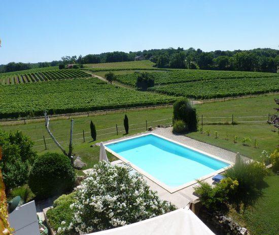 Vue sur la piscine et les vignes au Grand Jaure